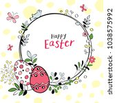 spring easter background with... | Shutterstock .eps vector #1038575992