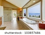 large bath tun with water view... | Shutterstock . vector #103857686