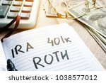 Small photo of Words IRA 401k ROTH handwritten in a note. Retirement plans.