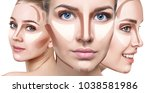 collage of woman's faces with... | Shutterstock . vector #1038581986