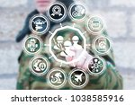 soldier presses soldiers button ... | Shutterstock . vector #1038585916