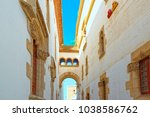 sitges town hall and church ... | Shutterstock . vector #1038586762
