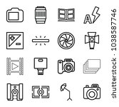 photography icons. set of 16... | Shutterstock .eps vector #1038587746