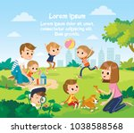 parents with children play in... | Shutterstock .eps vector #1038588568