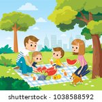 family relaxing in the park | Shutterstock .eps vector #1038588592
