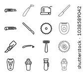 cutter icons. set of 16... | Shutterstock .eps vector #1038589042