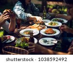 people are eating on vacation.... | Shutterstock . vector #1038592492