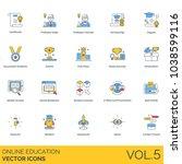 online education vector icons.... | Shutterstock .eps vector #1038599116