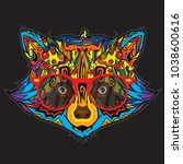 ornamental face of raccoon in... | Shutterstock .eps vector #1038600616