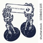 robot hands tattoo and t shirt... | Shutterstock .eps vector #1038601105