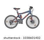 fullsuspension bicycle for... | Shutterstock .eps vector #1038601402