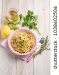 Small photo of spaghetti with clam and thymus