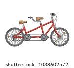 city tandem bicycle. vector... | Shutterstock .eps vector #1038602572