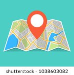 city map with navigation.... | Shutterstock .eps vector #1038603082
