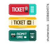 retro paper tickets set... | Shutterstock .eps vector #1038604576
