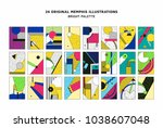 colorful trend neo memphis... | Shutterstock .eps vector #1038607048