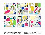 colorful trend neo memphis... | Shutterstock .eps vector #1038609736