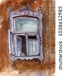 old window drawing by... | Shutterstock . vector #1038612985