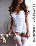 sexy beautiful nude brunette... | Shutterstock . vector #1038613456