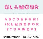 glitter confetti pink font... | Shutterstock .eps vector #1038615352