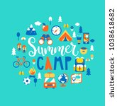 summer camp concept with... | Shutterstock .eps vector #1038618682