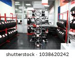 modern store with alloy wheels... | Shutterstock . vector #1038620242