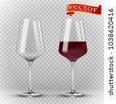 wine glass  empty and with red...   Shutterstock .eps vector #1038620416
