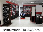 modern store with alloy wheels... | Shutterstock . vector #1038620776