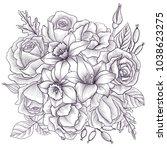 vintage vector floral... | Shutterstock .eps vector #1038623275