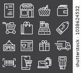 vector line shopping icons on... | Shutterstock .eps vector #1038624532