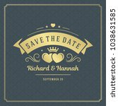 wedding save the date... | Shutterstock .eps vector #1038631585