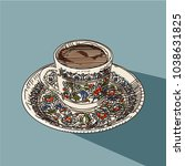 Turkish Coffee Isolated On Blu...