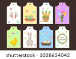 easter gift tags vector labels... | Shutterstock .eps vector #1038634042
