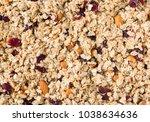 homemade muesli or granola with ... | Shutterstock . vector #1038634636