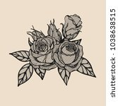 rose vector lace by hand... | Shutterstock .eps vector #1038638515