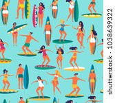 people with surfs s on the sea. ... | Shutterstock .eps vector #1038639322