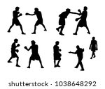 boxers vector silhouettes | Shutterstock .eps vector #1038648292