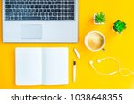 workplace with a biclone  pen ... | Shutterstock . vector #1038648355