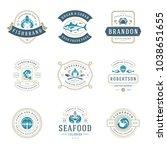 seafood restaurant logos set... | Shutterstock .eps vector #1038651655