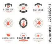 butcher shop logos set vector... | Shutterstock .eps vector #1038652045