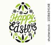 happy easter egg lettering on...   Shutterstock .eps vector #1038654148