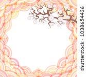 sakura flowers  round pink... | Shutterstock .eps vector #1038654436