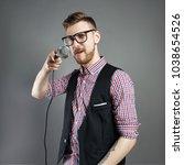 karaoke man sings the song to... | Shutterstock . vector #1038654526