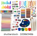 brushes  paint  pencils and... | Shutterstock . vector #103865486