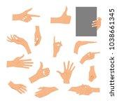 set hands in different gestures ... | Shutterstock .eps vector #1038661345