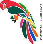 colorful macaw bird stylized... | Shutterstock .eps vector #1038663646