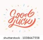 good luck. farewell card.... | Shutterstock .eps vector #1038667558