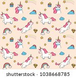 cute cartoon unicorn seamless... | Shutterstock .eps vector #1038668785