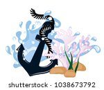 blue anchor in wave with pink... | Shutterstock .eps vector #1038673792