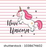 unicorn t shirt design on... | Shutterstock .eps vector #1038674602